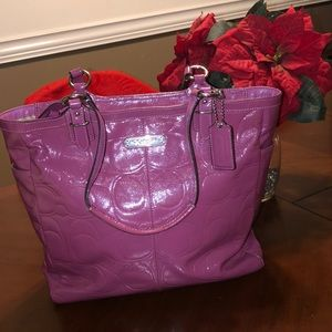 COACH💕Gallery Embossed patent leather tote